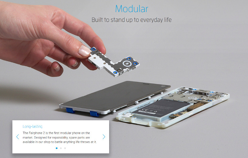 Picture of an open FP2 from the Fairphone website