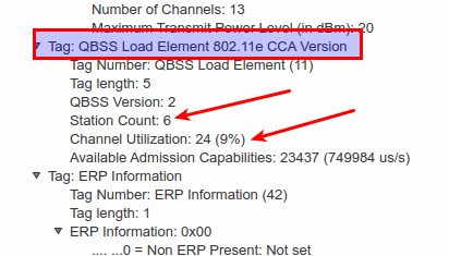 Wifi QBSS Load Element Shows Number of Connected Devices