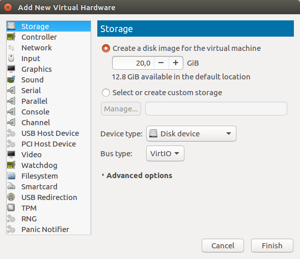 Create new VirtIO storage