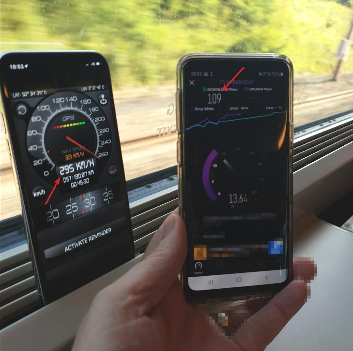Train and data speed shown