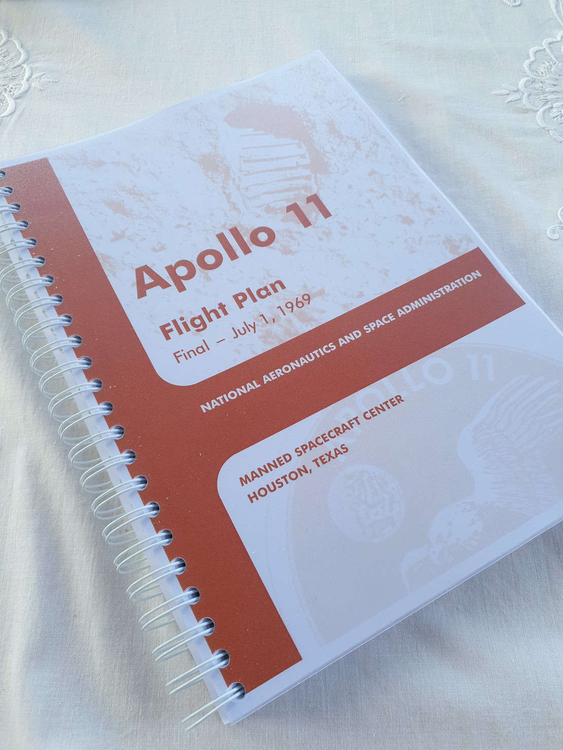 My spiral bound copy of the Apollo 11 Flight Plan