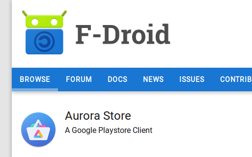 Image of the Aurora store app in F-Droid