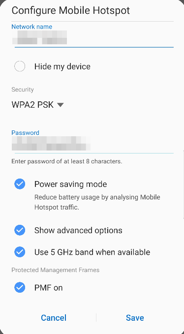 Image: PMF option on a smartphone Wifi hotspot