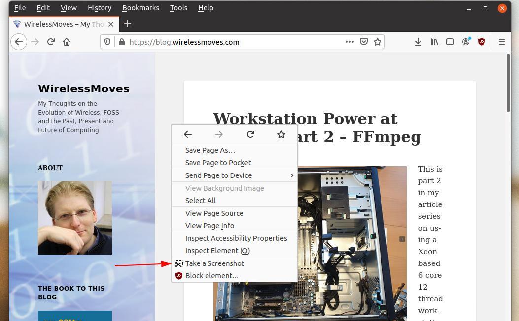Image: Firefox screenshot utility on context menu