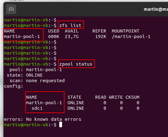 Image: zfs and pool status