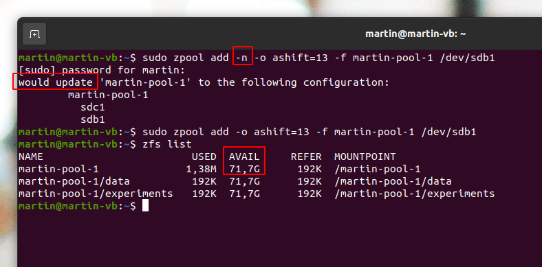 Image: Adding a disk partition to a pool